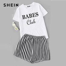 4267070fbe SHEIN Black and White Letter Print Top And Striped Shorts PJ Set Women  Summer Nightwear Tops