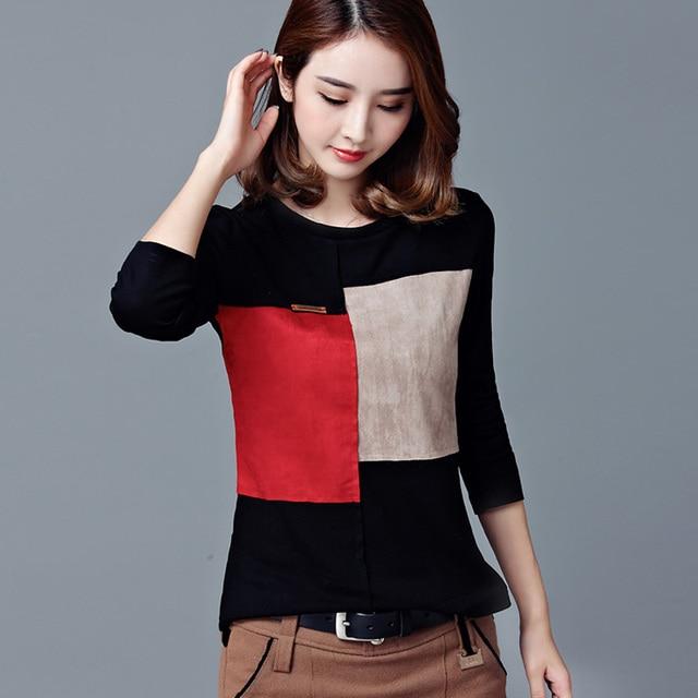 2017 Black Fashion T Shirt Women Casual Tops Long Sleeve Plus Size xxl Spring Autumn O NeckT Shirt Slim Top Casual De Mujer B156
