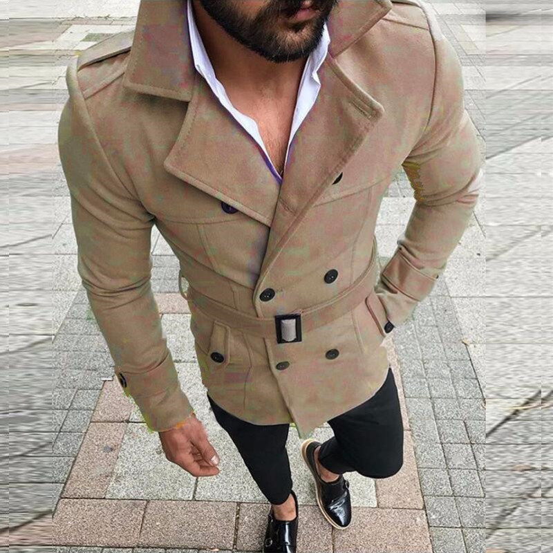 2018 Winter Men   Trench   Coat Suede Fabric Belted Double Breasted Long Sleeve Outerwear Jacket Coat Fashion Men Windbreaker   Trench