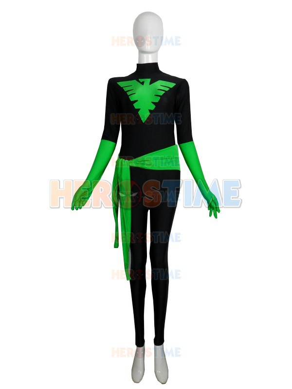 X-Men Phoenix Costume Black & Green Spandex Superhero Costume full body zentai suit no hood free shipping