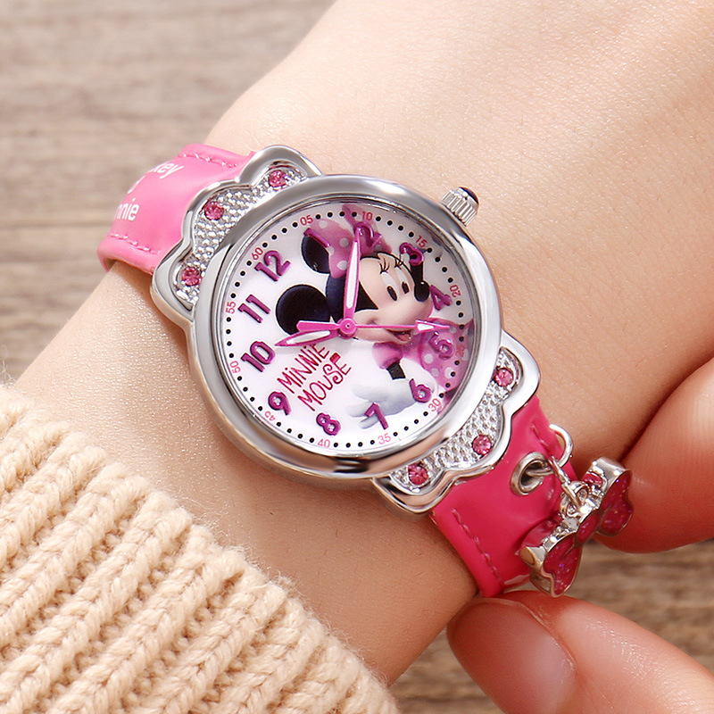 100% Genuine Disney Brand Watches Frozen Sophia Minnie Watch With Necklace Fashion Luxury Watch Men Girl Wrist Watch 2018 New Children's Watches