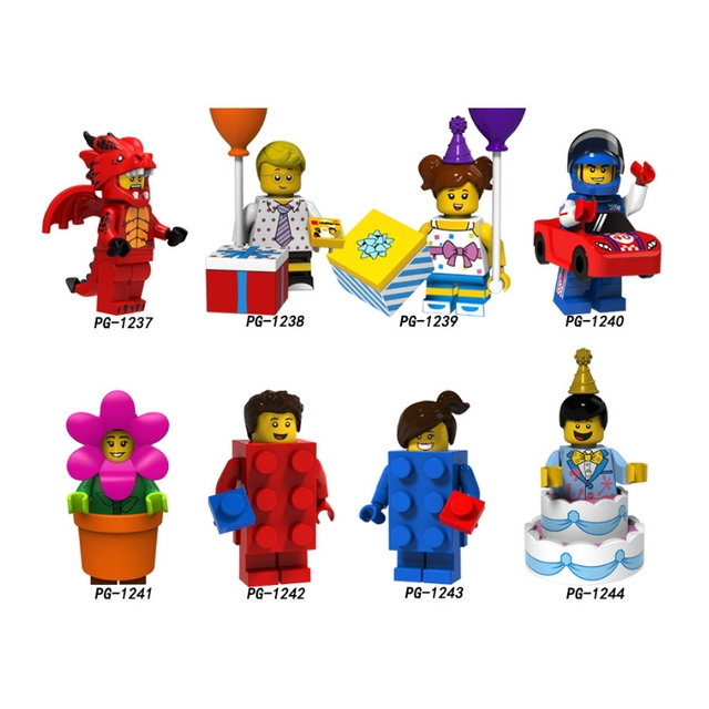 Super Heroes Fire Dragon Balloon boy girl Racing man Flowerpot girl Cake boy Building Blocks Toy legoe minifigured PG8151