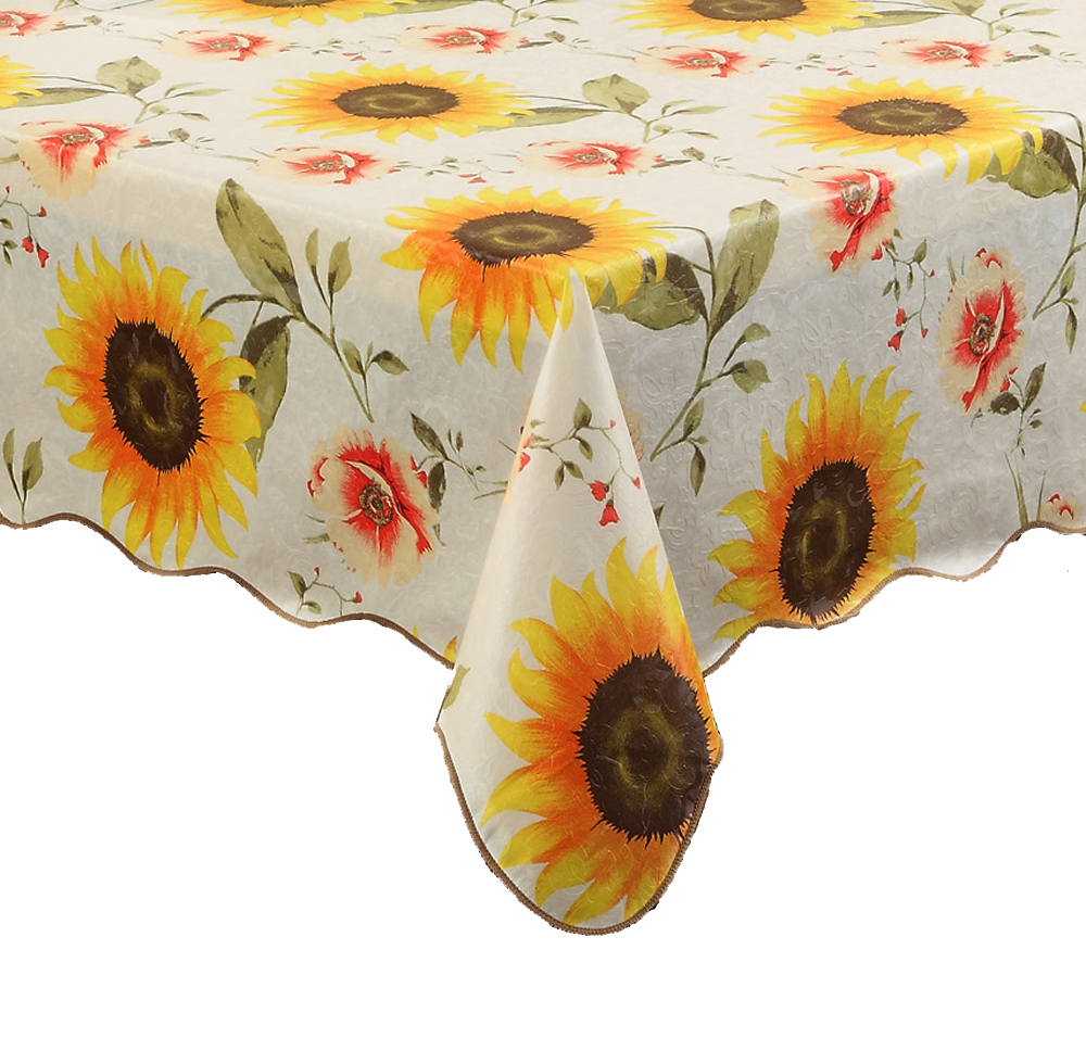 Sunflower Table Cloth Waterproof U0026 Oilproof Wipe Clean Vinyl+Flannel  Tablecloth Dining Kitchen Table Cover  In Tablecloths From Home U0026 Garden On  ...