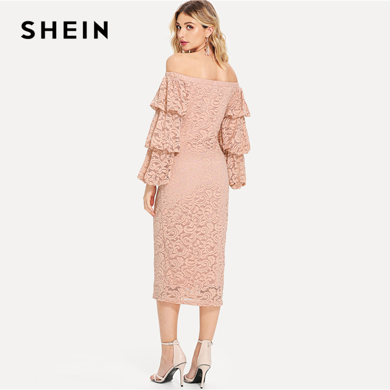 b92d59781f SHEIN Pink Party Elegant Tiered Layer Flounce Long Sleeve Off The Shoulder  Lace Pencil Dress Summer Women Going Out Dresses-in Dresses from Women's  Clothing ...