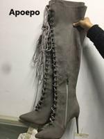 Продажа бренда 2017 серый бахрома Женские ботинки пикантные женские ботинки с острым носком Модные сапоги выше колена на высоком каблуке Жен