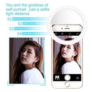 Image 2 - COOLJIER Yeni selfie halka ışık USB Şarj Taşınabilir Flaş LED kamera Telefon selfie halka ışık klip video ışık Gece Geliştirme