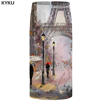 KYKU Eiffel Tower Skirts Women City Floral France Sexy Painting Pencil Party Casual Ladies Skirts Womens Anime Korean Fashion kyku eiffel tower dress women city retro dress france painting 3d print sundress sexy womens clothing casual ladies dresses new