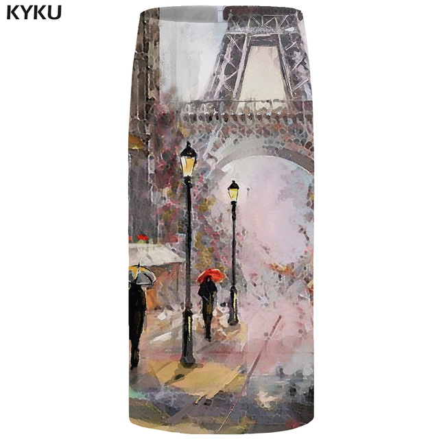 KYKU Eiffel Tower Skirts Women City Floral France Sexy Painting Pencil Party Casual Ladies Skirts Womens Anime Korean Fashion