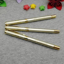 Gold design rollerball pen with blue ink or black to choose you can custom your logo brand on the body one color