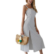White Polka Dot Split Chiffon Summer Dress Sexy Sleeveless Spaghetti Strap Backless Women Midi Dress Ladies Party Beach Vestidos stylish sleeveless polka dot chiffon dress for women