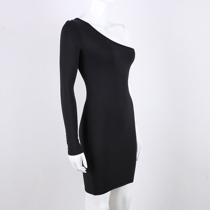 spring long sleeve elastic slim wrap mini dress red black white (2)