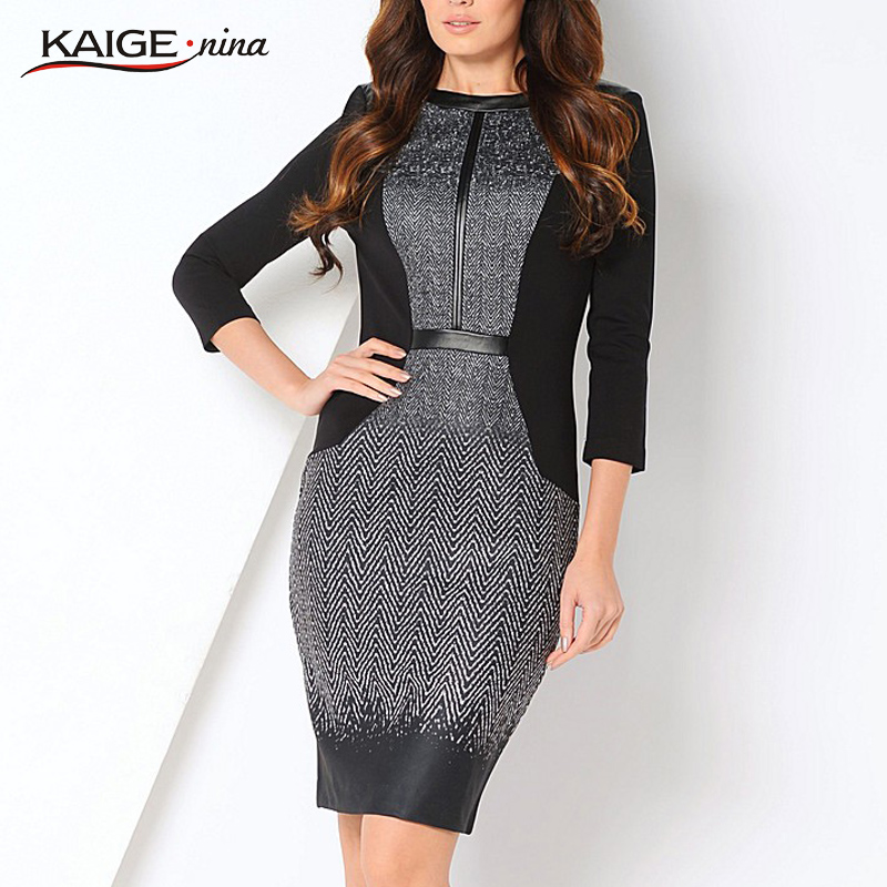 KaigeNina New Fashion Hot Sale Lady Novelty Striped Straight O-Neck Above Knee Embroidery Women Dress 1156