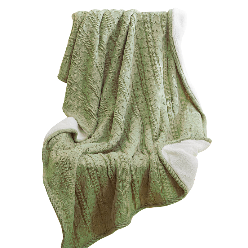 Superb Svetanya Solid Color Green Knitting Cotton Throws Blanket Bedsheets Faux  Cashmere Fiber Double Faced For Sofa Or Bedding
