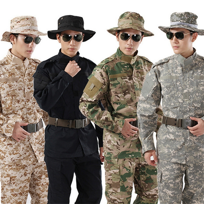 8Color Camouflage Military Uniform Army Costume for Men Tactical Combat Shirt Special Forces Soldier Man's Plus Size Pant Set