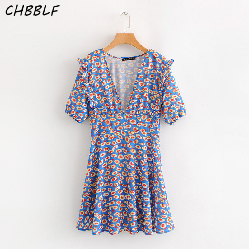 CHBBLF women V neck floral dress sweet ruffles short sleeve pleated female casual chic mini dresses vestidos S1630