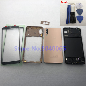 Image 3 - For Samsung A7 2018 SM A750F A750F Full Housing Front Mid Frame Plate Bezel Battery Back Cover Door Case A7  A750 + Front Glass