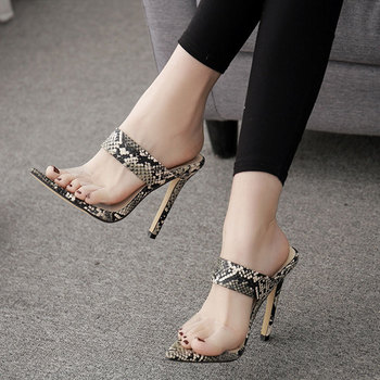 2019 New Women Summer 12cm Thin Heels Sandals Ladies Fashion Sexy Slip-On Pointed Toe PU Sandals Size 35-40 6O0349