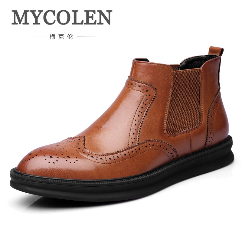 MYCOLEN Hot Sale Luxury Fashion High Fall Shoes Men Booties Ankle Male Boots Platform British Style Comfortable Brogue Shoes fall trendboots in europe and america heavy bottomed martin boots british style high top shoes shoes boots sneakers