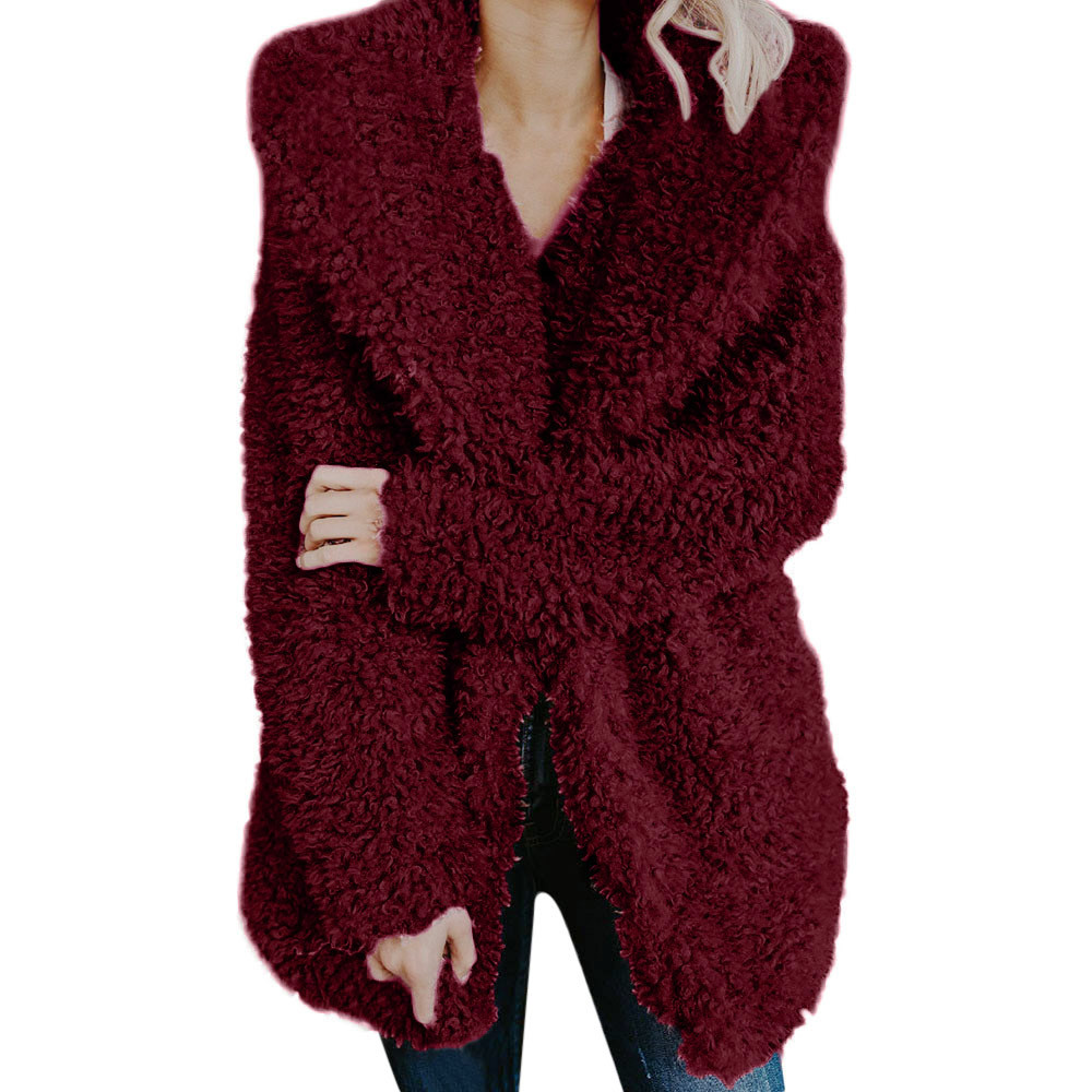 winter coat women faux fur teddy bear coat jacket open. Black Bedroom Furniture Sets. Home Design Ideas