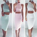 2 Pieces Sexy Women Summer Casual Evening Party Club Short Mini  Skirt and   Sleeveless Top