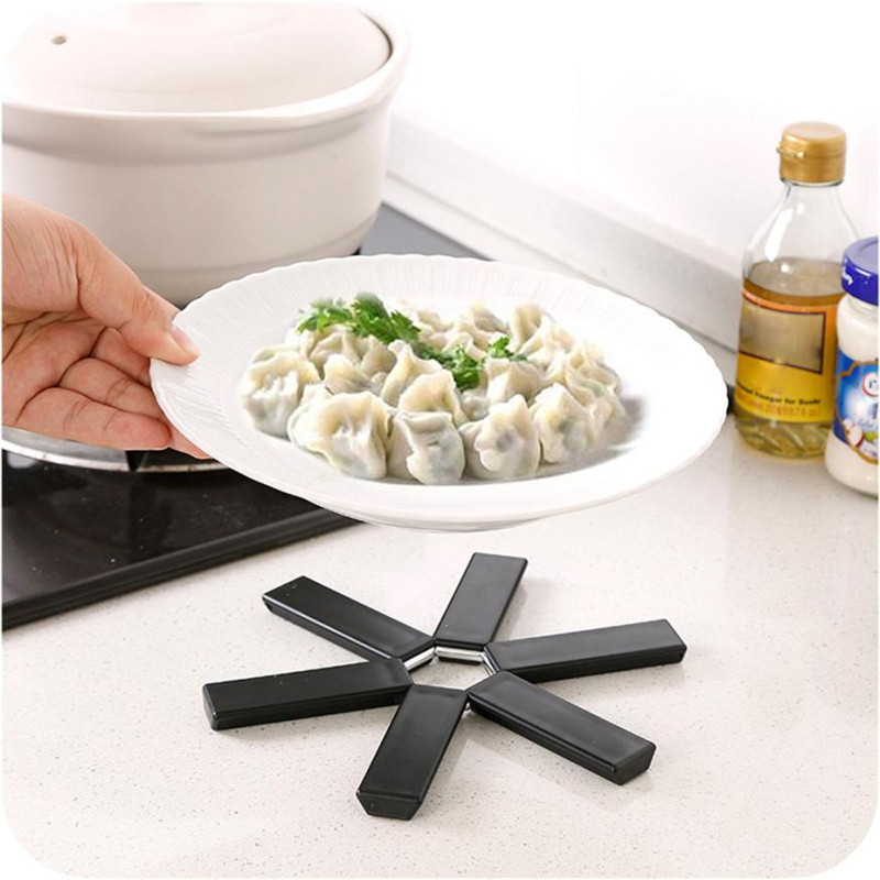 Black Foldable Non-slip tableware Mat Flower design Plastic Heat resistant Hot Pot Pan holder coaster Pads Folding drop shipping