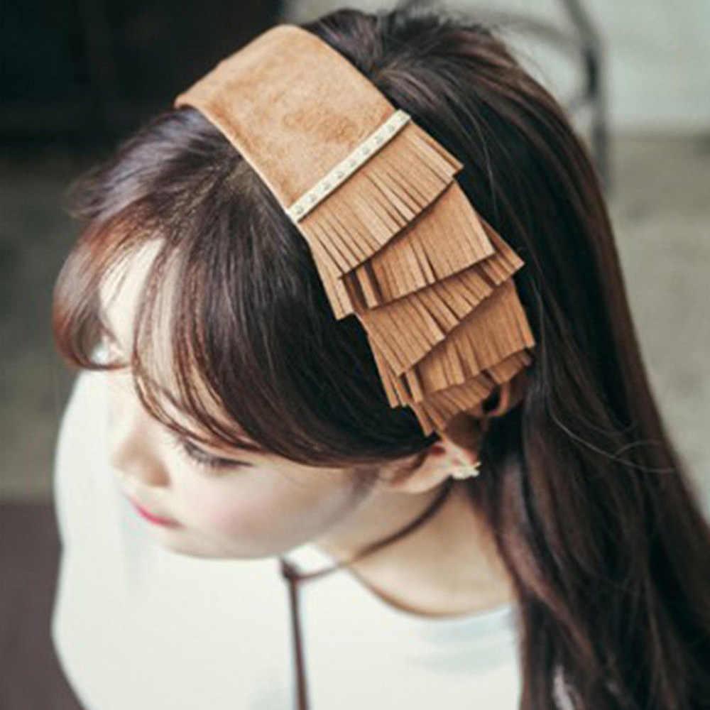 Новая мода женщин Сплит слой бахромой алмаз бархат широкая головная повязка наголовный обруч простой головной убор