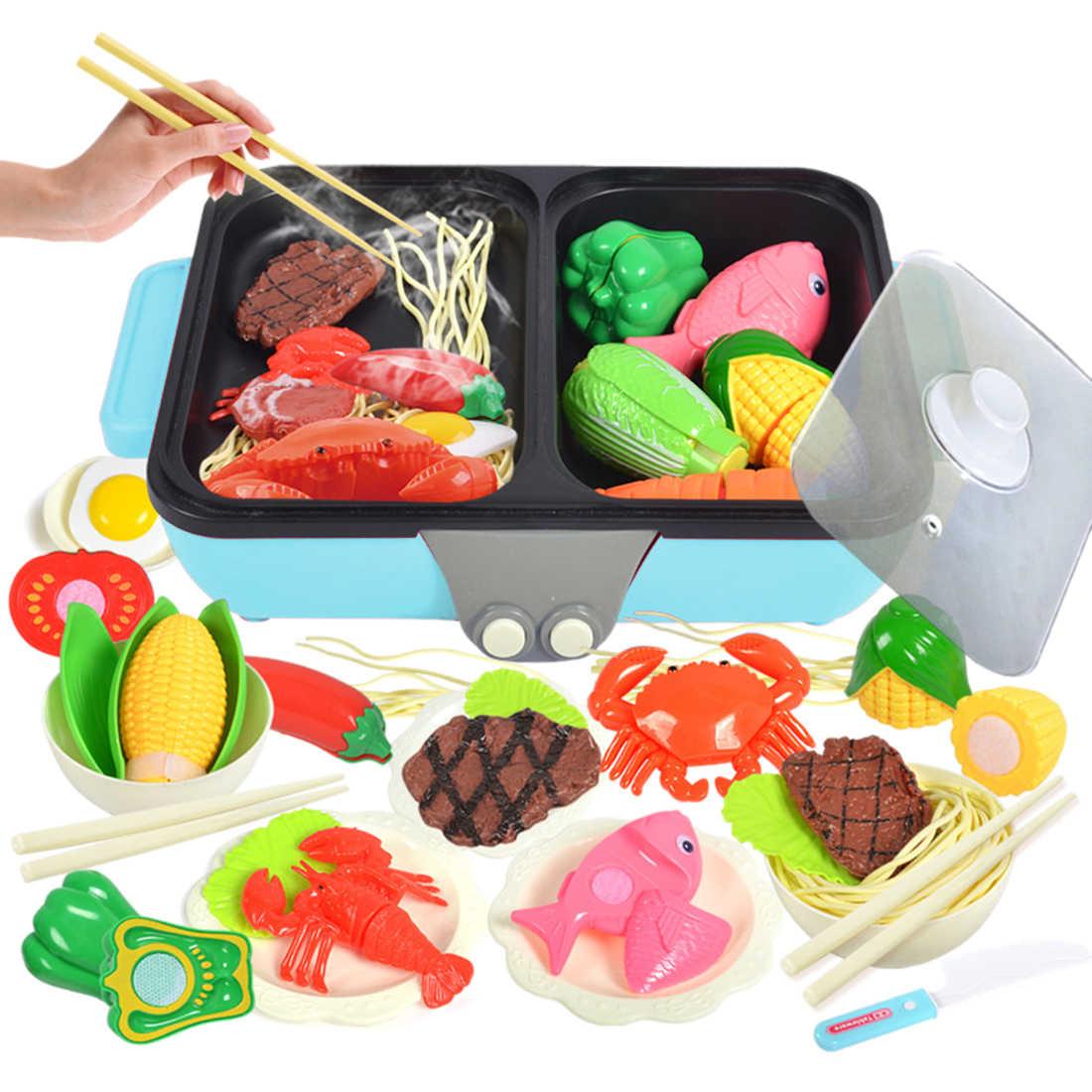 37 шт. 2-в-1 ролевые игры игрушка Кухня горячий горшок барбекю Playset ролевые игры Еда детские игрушки с детские Кухня Пособия по кулинарии, Набор детских игрушек