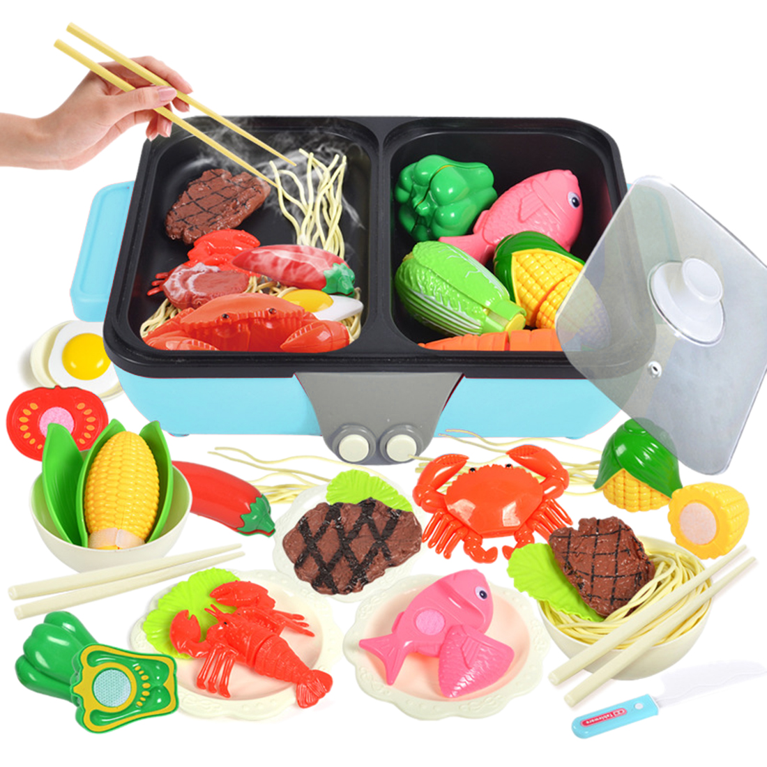 37Pcs 2 In 1 Pretend Play Toy Kitchen Hot Pot Barbecue Playset Pretend Play Food Children Toys With Kids Kitchen Cooking Toy Set