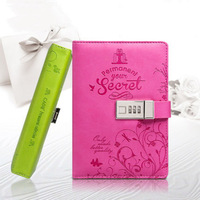 Diary Secret With Lock Pu Leather Cute Travel Journal Notebook school supplies 6523