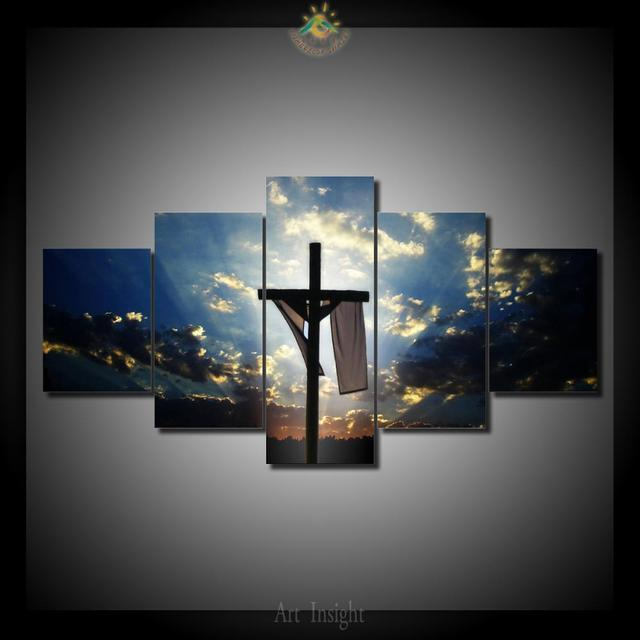 Cross in the sunset 5 Pieces/set Wall Art Paintings Picture Print on ...