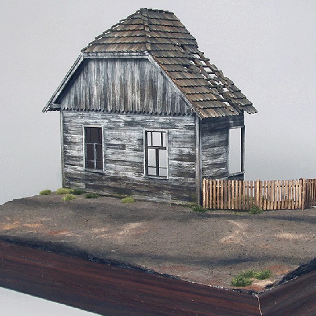 1/35 Kit Casa Diorama Cenas de Ruínas De Construção Militar Campo de Batalha De Madeira Europeu