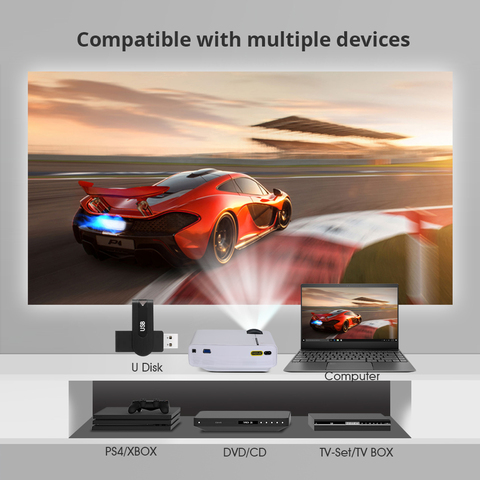 Mini Projector BYINTEK SKY K1/K1plus LED Portable Home Theater HD (Optional Wired Sync Display For Iphone Ipad Phone Tablet) Multan