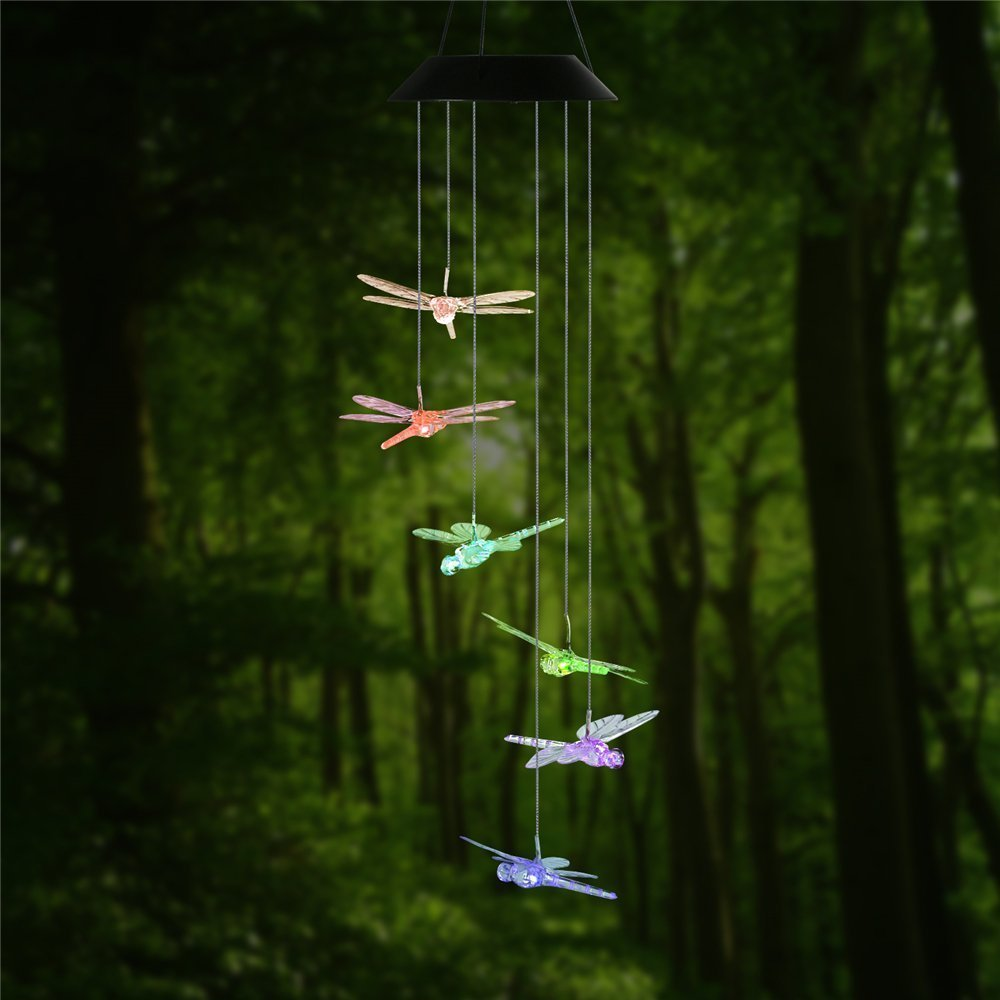 Dragonfly led solar panel wind chime night light color - Iluminacion led jardin ...