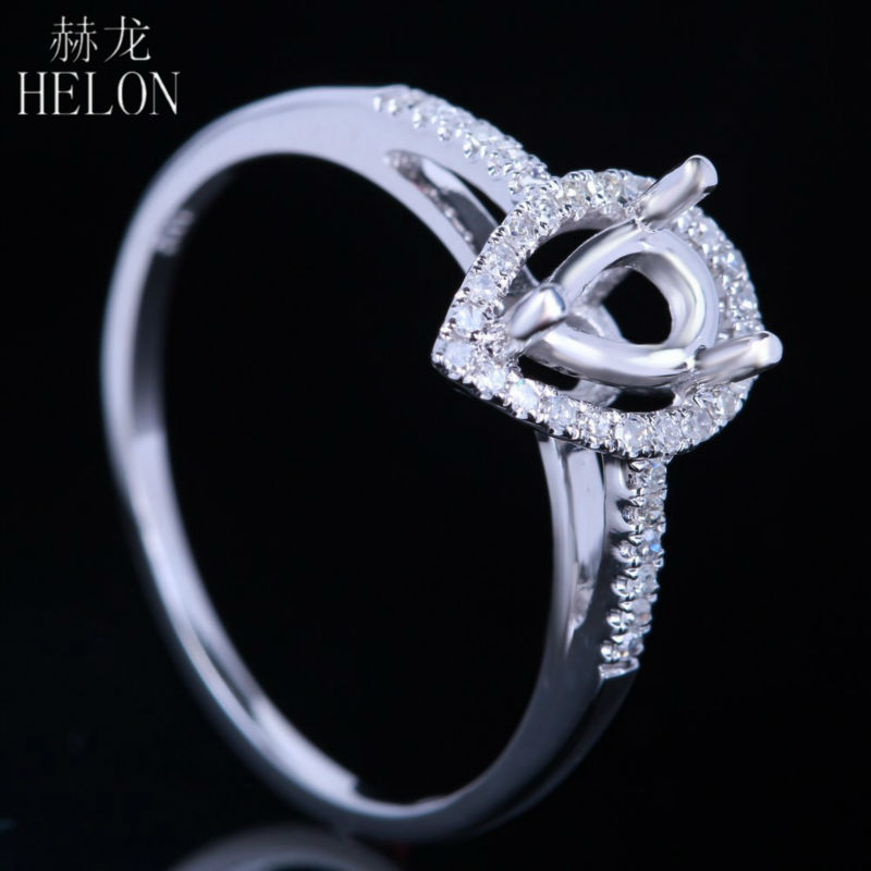 HELON 7x5mm Pear Cut Semi Mount Ring Setting Sterling Silver 925 0.2ct Natural Diamond Engagement Ring Women Trendy Fine Jewelry-in Rings from Jewelry & Accessories    3
