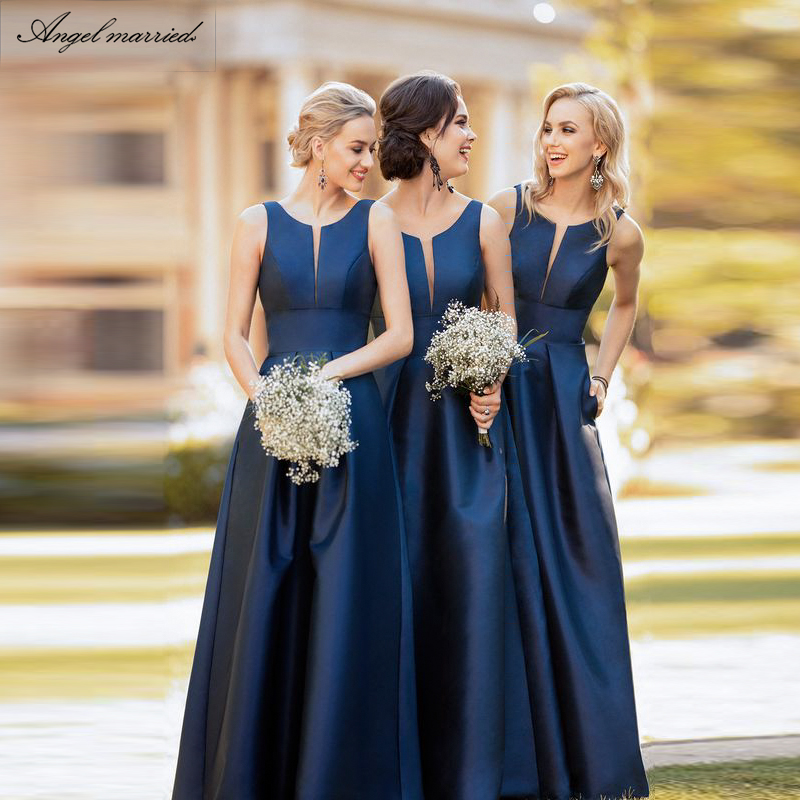 Angel married navy blue   bridesmaid     dresses   a line satin wedding party   dress   junior wedding guest   dress   vestido de festa 2019
