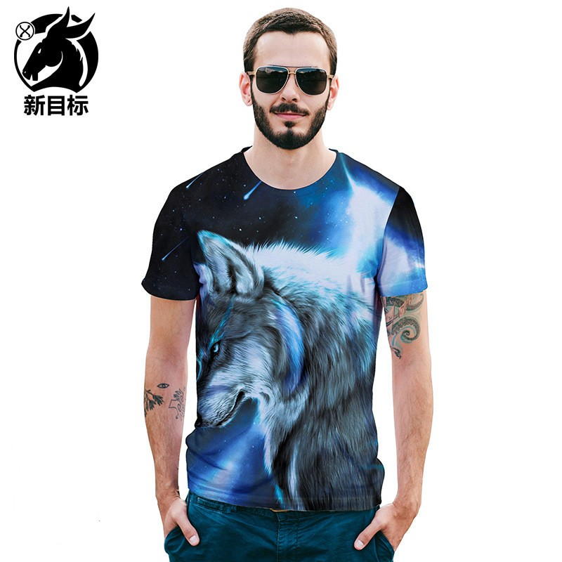 2018 new t shirt short sleeve fashion Creative starry sky Wolf 3D printed T-shirt High quality