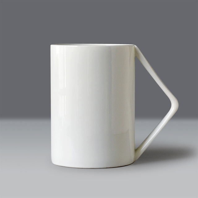 400ml Plain White Bone China Nespresso Coffee Mug Novelty Design Right Angle Handle