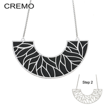 Cremo Necklaces & Pendants Stainless Steel Pendant Necklace Interchangeable Reversible Leather Statement Charm Choker