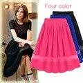 Nueva falda de verano gasa de las mujeres Organza plisado falda de Midi tamaño libre