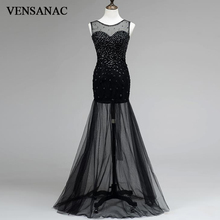 VENSANAC 2017 New Mermaid Crystals O Neck Long Evening Dresses Sleeveless Elegant Tank Open Back Lace Party Prom Gowns