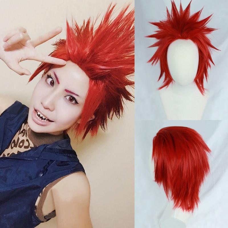 My Boku No Hero Academia Eijirou Kirishima Eijiro Short Red Heat Resistant Cosplay Costume Wig + Wig Cap
