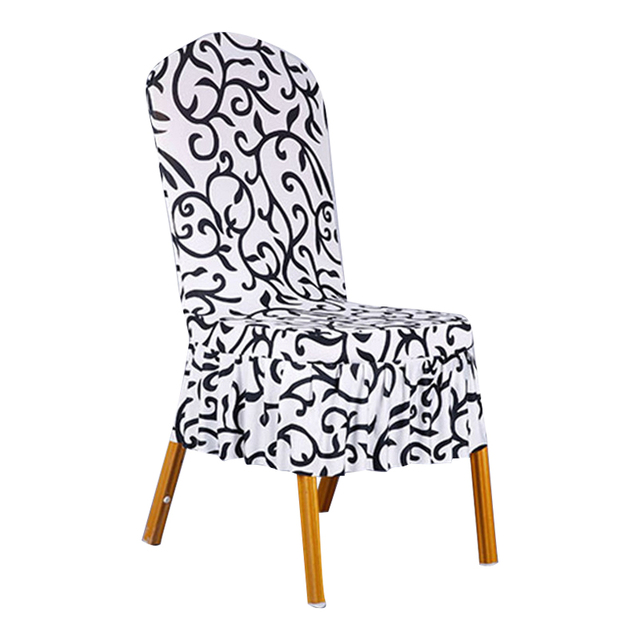 Dining Chair Covers Aliexpress Bean Bag Bed Bath And Beyond 1 Piece Sure Fit Soft Stretch Spandex Pattern For Chairs Short Skirt Black Brown Cr008590947