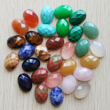 Wholesale 30pcs/lot 2017 new natural stone mixed Oval CABOCHON cut faceted beads for jewelry accessories making 13x18mm free