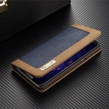 Antecase для Samsung S8 случае Роскошные кожаные Filp кошелек слот для карты холст ковбой чехол для Samsung S8 плюс S6 S7 край флип Чехол