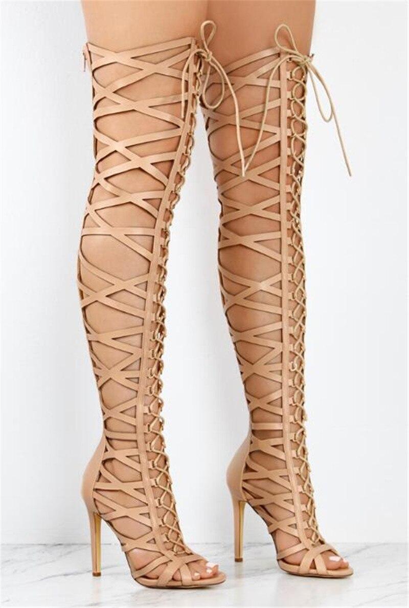 Ayakk.'ten Diz Üstü Çizmeler'de 2018 yeni moda varış ince topuk yüksek topuk çapraz bağlı peep toe saf siyah diz üzerinde uzun Içi Boş çizmeler'da  Grup 2