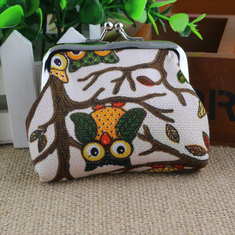 Owl Bag Wallet Female Coin Purse Hasp Purse Women Change Pouch Wallet For Girl Key Canvas Little Bag Small Pouch Mujer#810 ladies cheapest canvas classic coin purse little key car pouch money bag girl s mini short coin holder wallet lxx9