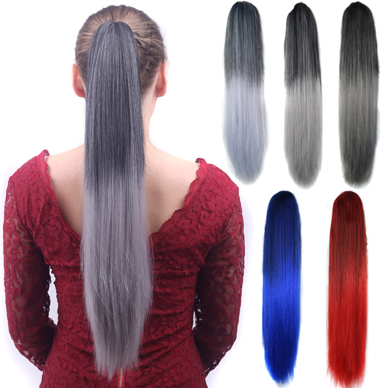 jeedou Ponytails Long Claw Ponytail Hair Extensions 22 55cm 140g Synthetic Black Gray Red Omber Color For Womens Hairpieces