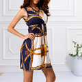 Fashion Retro Vintage Print V Neck Hippie Bohemian Summer Dress Women Beach Dress holiday dress vestidos