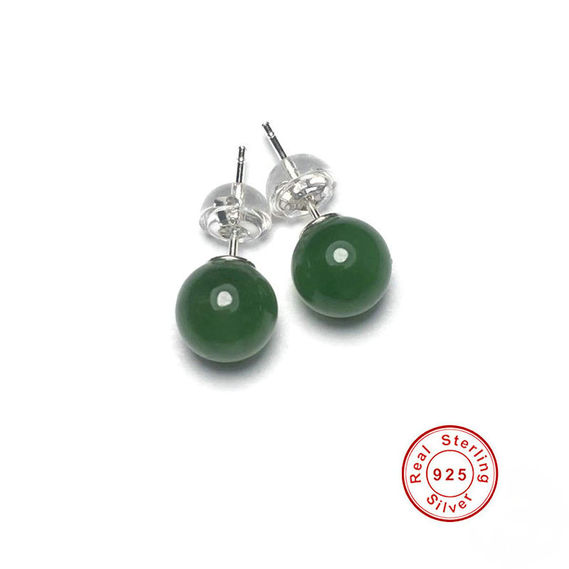 Natural Green Jade 925 Sterling Silver Ball Stud Earrings For Women Fine Jewelry
