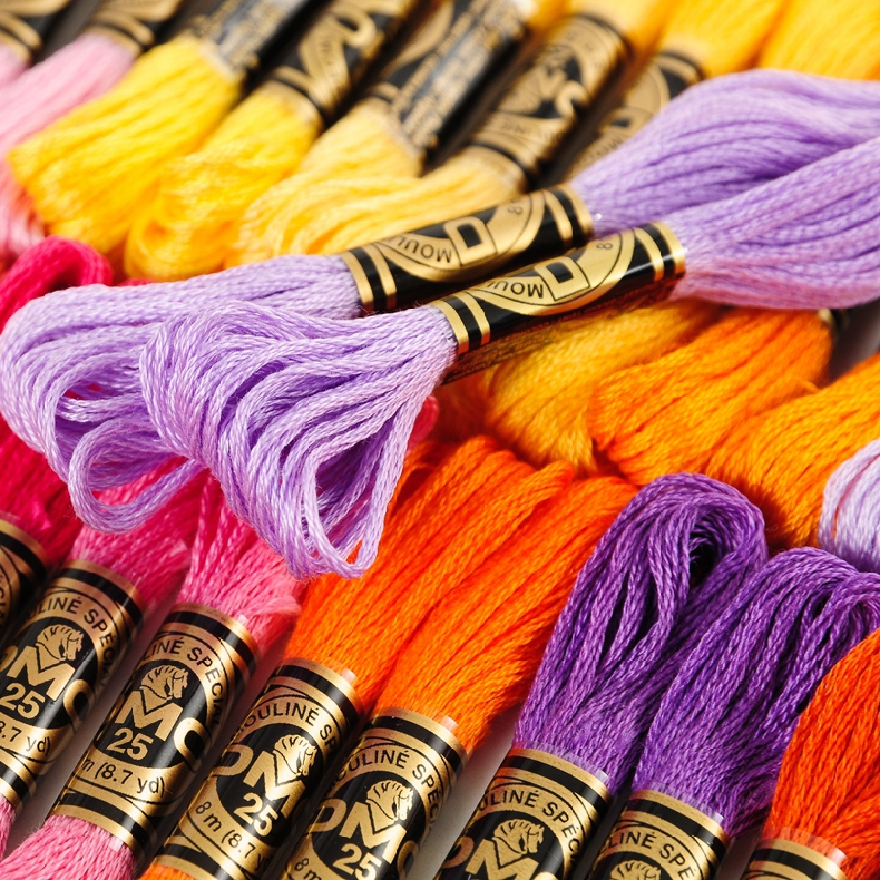 Oneroom 50 Pieces Original French DMC Thread Embroidery Cross Stitch Floss Yarn Thread  8.7 Yard Length 6 Strands